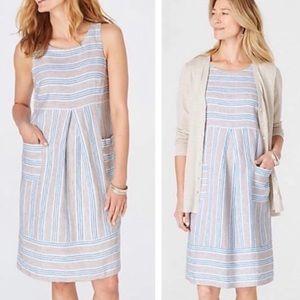 J Jill Love Linen Blue Stripped Dress Size S
